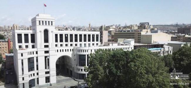 Declarația  Ministerului Afacerilor Externe al Armenia în legătură cu observațiile președintelui Turciei, privind Genocidul armean, pe care le-a făcut în Statele Unite