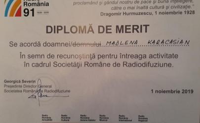 RADIO ROMÂNIA  91 / Diplomă de merit pentru ziarista Madeleine Karacașian