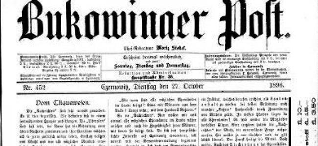 """RESTITUIRI /  Despre istoria Armeniei – """"Bukowinaer Post"""", Redactor şef: Moriz Stekel, Nr. 452 Cernăuţi  (marţi, 27 octombrie 1896)"""