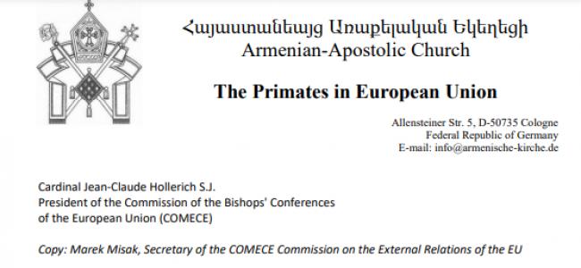 Primaţii din Uniunea Europeană ai Bisericii Apostolice Armene au trimis un apel Cardinalului Jean-Claude Hollerich S. J. Preşedintele Comisiei Conferinţei Episcopilor din Uniunea Europeană (COMECE)