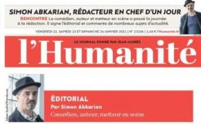 """COMENTARIU / Editorialul lui Simon Abkarian, redactor șef, pentru o zi la l'Humanité. """"Mama mea, teatrul, Arțakh și eu"""""""