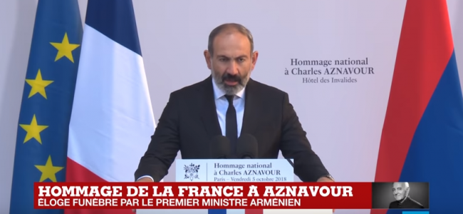 VIDEO / Prim ministru, Nikol Pașinian, prezintă omagiul său, pentru Charles Aznavour, la ceremonia solemnă de la Domul Invalizilor din Paris