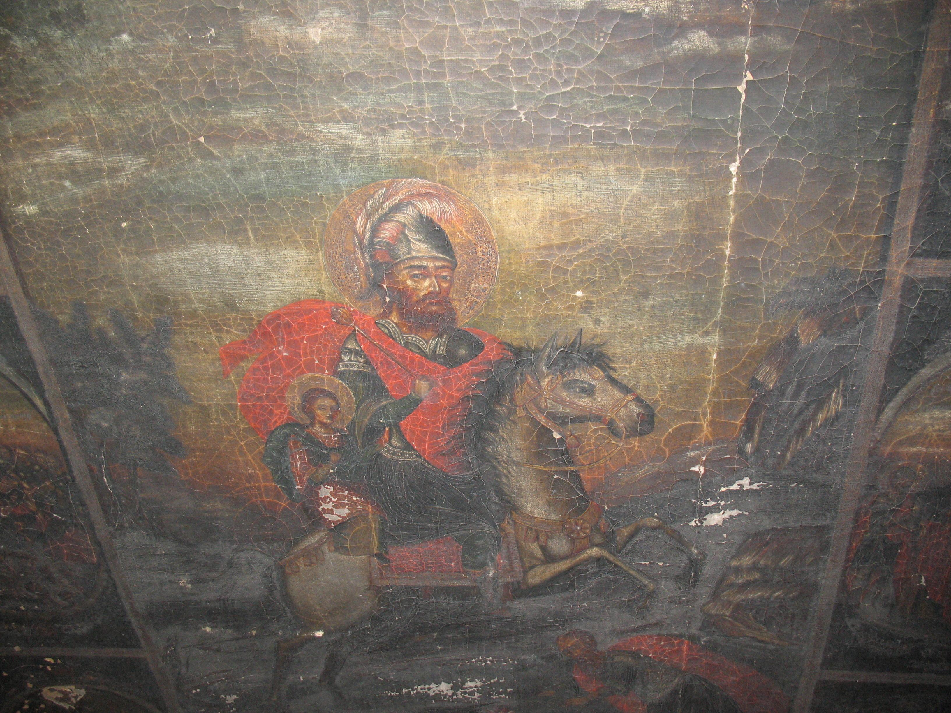 Icoana-Sfântul-Sarchis-_și-fiul-său-Mardiros-din-anul-1869-detaliu.-Biserica-armeană_-din-Botoșani