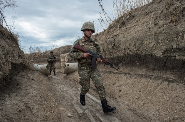 2714817 10/08/2015 Soldiers of the army of the self-proclaimed Nagorno-Karabakh Republic on the line of contact with Azerbaijan's armed forces in the town of Martakert. Iliya Pitalev/RIA Novosti