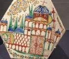 Fig. 24. Ceramicà hexagonalà cu scenà de arhitecturà Kutahya, secolul 18.