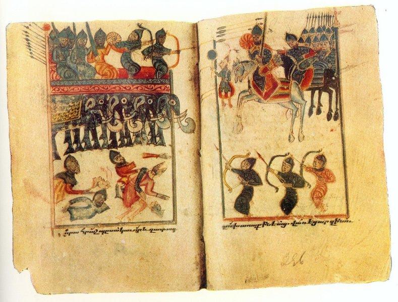 miniatură reprezentând bătălia de la Avarayr